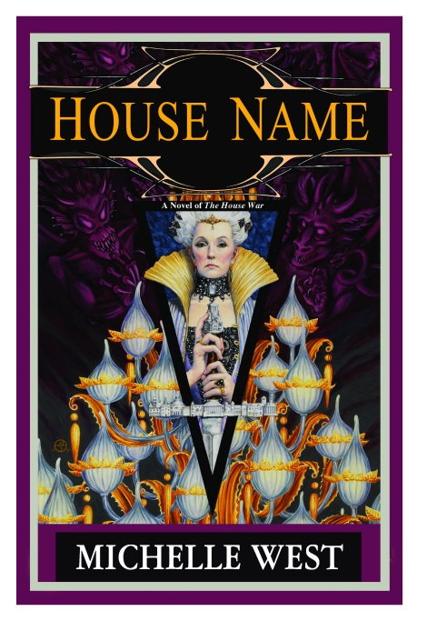 The cover of House Name showing The Terafin holding the Terafin sword